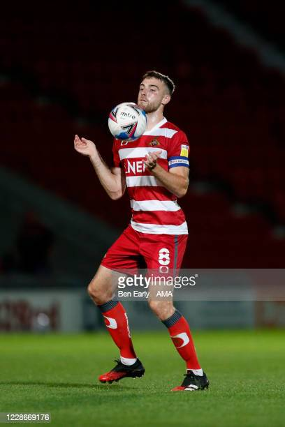 Ben Whiteman of Doncaster Rovers during the EFL Trophy match between Doncaster Rovers v Bradford City at Keepmoat Stadium on September 8 2020 in...