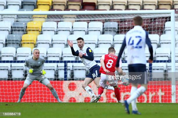 Ben Wiles of Rotherham United scores his team's second goal during the Sky Bet Championship match between Preston North End and Rotherham United at...