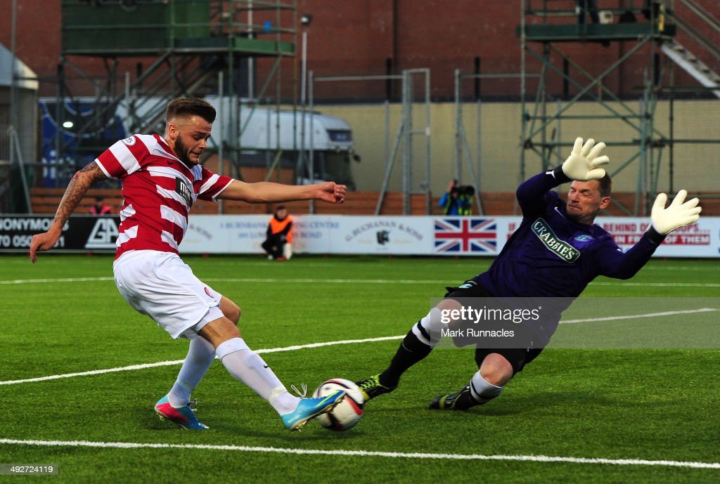 Hamilton Academical v Hibernian - Scottish Premiership Play-off Final: First Leg : News Photo