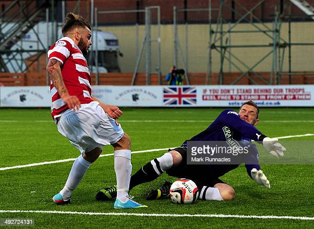 Ben Williams of Hibernian makes a crucial save from Andy Ryan of Hamilton during the 20 victory over Hamilton Academical in the Scottish Premiership...