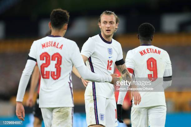 Ben Wilmot of England celebrates during the UEFA Euro Under 21 Qualifier match between England U21 and Albania U21 at Molineux on November 17, 2020...