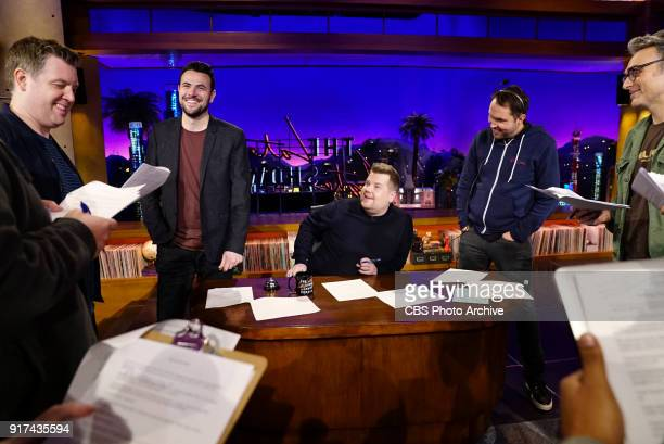Ben Winston James Corden and Rob Crabbe chat with producers during rehearsals on 'The Late Late Show with James Corden' Tuesday February 6 2018 On...