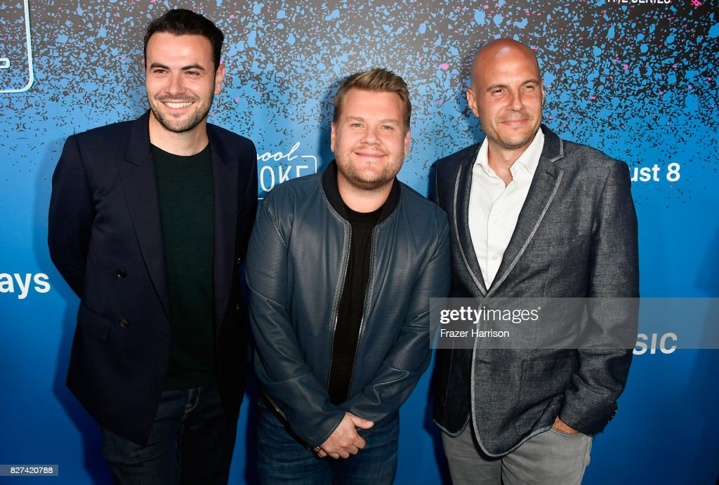 Ben Winston, James Cordon and Eric Pankowski attend 'Carpool Karaoke: The Series' On Apple Music Launch Party at Chateau Marmont on August 7, 2017 in Los Angeles, California.