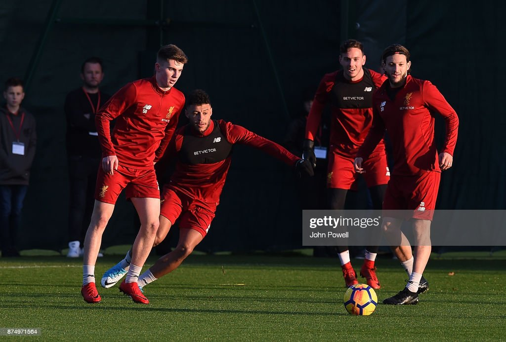Ben Woodburn, Alex Oxlade-Chamberlain, Danny Ward and Adam Lallana of Liverpool during a training session at Melwood Training Ground on November 16, 2017 in Liverpool, England.