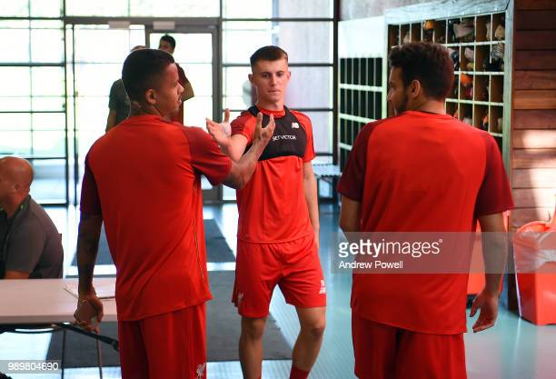 Ben Woodburn Allan Rodrigues de Souza and PedroChirivella of Liverpool during their first day back for preseason training at Melwood Training Ground...