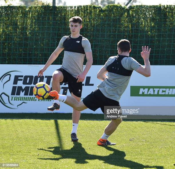 Ben Woodburn and James Milner of Liverpool during a training session at Marbella Football Center on February 17 2018 in Marbella Spain