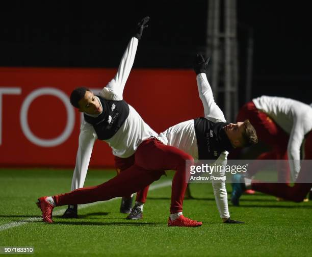 Ben Woodburn and Trent AlexanderArnold of Liverpool during a training session at Melwood Training Ground on January 19 2018 in Liverpool England