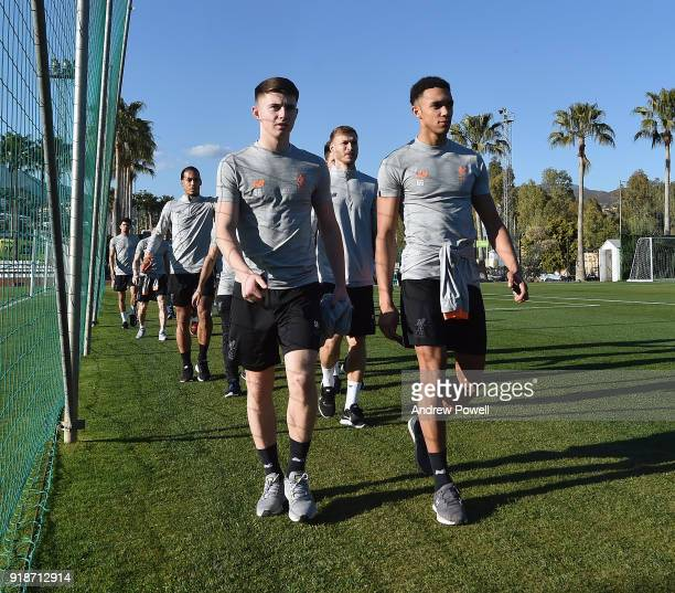 Ben Woodburn and Trent AlexanderArnold of Liverpool during a training session at the Marbella Football Center on February 15 2018 in Marbella Spain