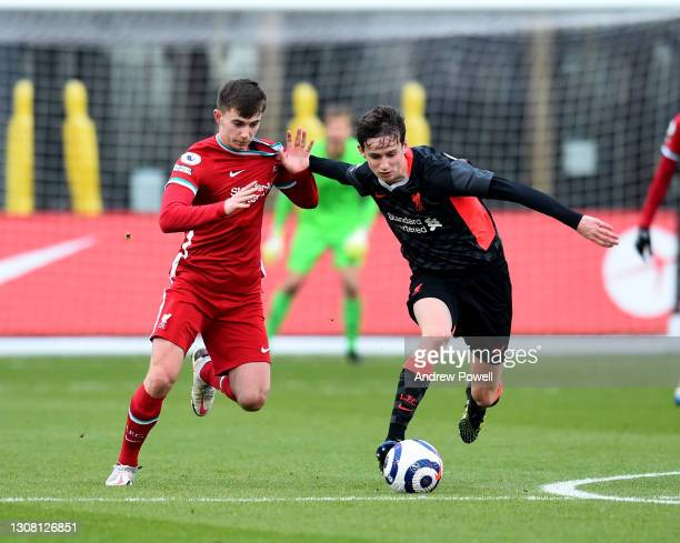 Ben Woodburn and Tyler Morton during a training session at AXA Training Centre on March 20, 2021 in Kirkby, England.