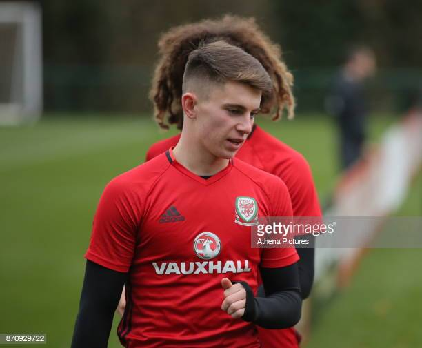 Ben Woodburn followed by Ethan Ampadu during the Wales Training Session at The Vale Resort on November 06 2017 in Cardiff Wales