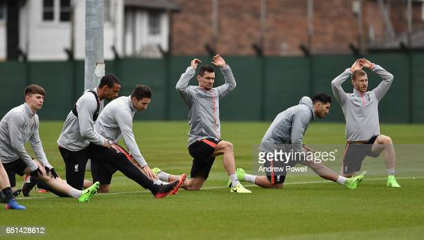 Ben Woodburn Joel Matip and Marko Grujic Dejan Lovren Erme Can and Raganr Klavan of Liverpool during a training session at Melwood Training Ground on...