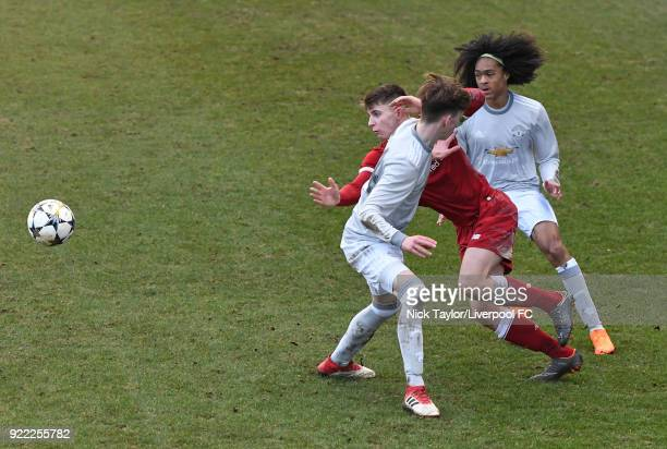 Ben Woodburn of Liverpool and James Garner and Tahith Chong of Manchester United in action during the Liverpool v Manchester United UEFA Youth League...