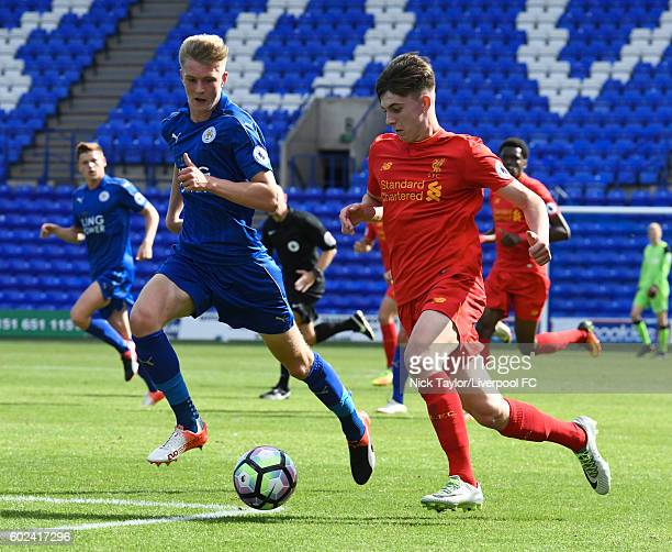 Ben Woodburn of Liverpool and Josh Knight of Leicester City in action during the Premier League 2 game between Liverpool and Leicester City at...