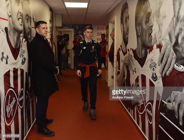 Ben Woodburn of Liverpool arrives before the Premier League match between Southampton and Liverpool at St Mary's Stadium on February 11 2018 in...