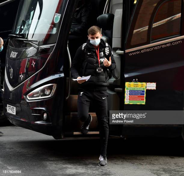 Ben Woodburn of Liverpool arriving before the Premier League match between Manchester United and Liverpool at Old Trafford on May 13, 2021 in...