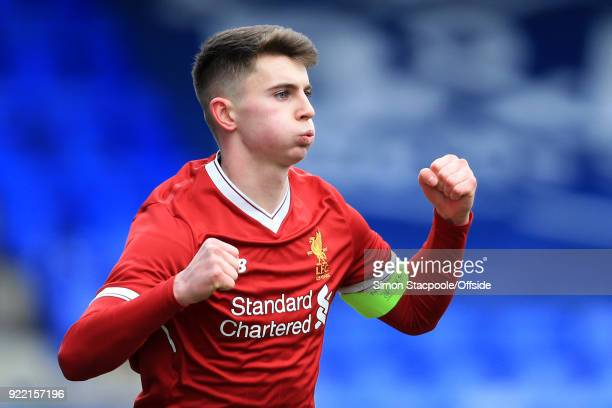 Ben Woodburn of Liverpool celebrates after scoring their 1st goal during the UEFA Youth League Round of 16 match between Liverpool and Manchester...