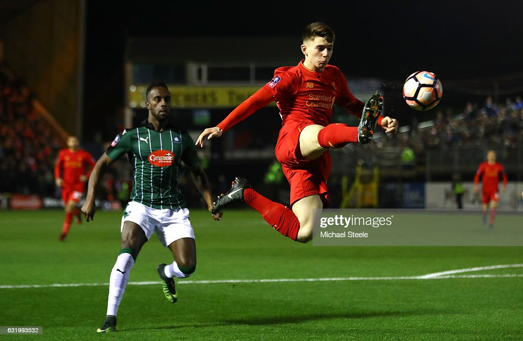 Ben Woodburn of Liverpool controls the ball during The Emirates FA Cup Third Round Replay match between Plymouth Argyle and Liverpool at Home Park on January 18, 2017 in Plymouth, England.