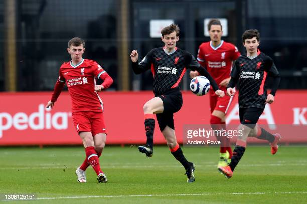 Ben Woodburn of Liverpool during a training session at AXA Training Centre on March 20, 2021 in Kirkby, England.