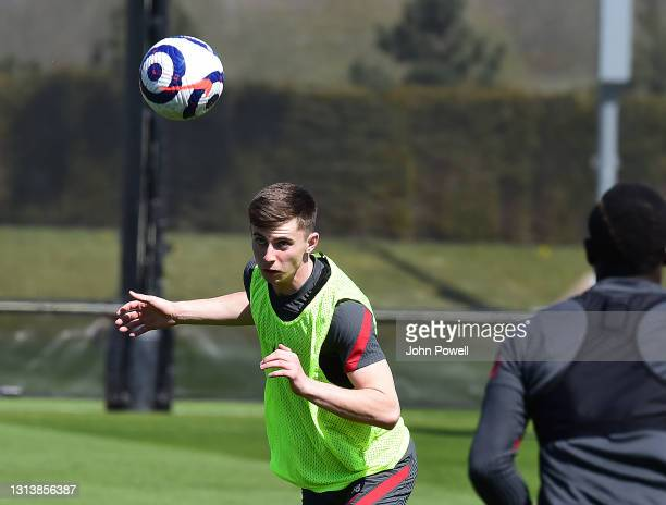 Ben Woodburn of Liverpool during a training session at AXA Training Centre on April 22, 2021 in Kirkby, England.