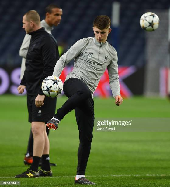 Ben Woodburn of Liverpool during a training session at Estadio do Dragao on February 13 2018 in Porto Portugal