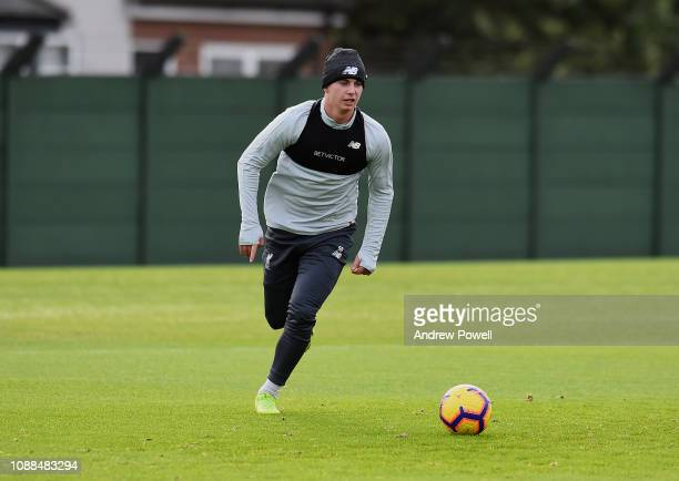 Ben Woodburn of Liverpool during a training session at Melwood Training Ground on January 25 2019 in Liverpool England