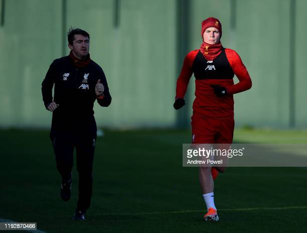 Ben Woodburn of Liverpool during a training session at Melwood Training Ground on December 09 2019 in Liverpool England