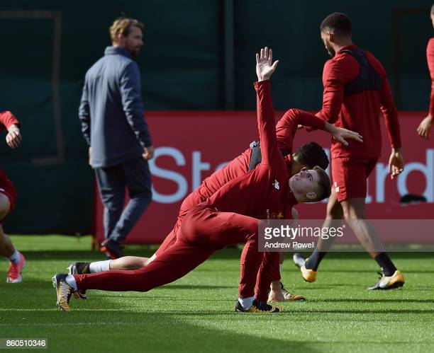 Ben Woodburn of Liverpool during a training session at Melwood Training Ground on October 12 2017 in Liverpool England
