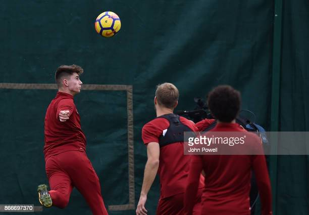 Ben Woodburn of Liverpool during a training session at Melwood Training Ground on October 26 2017 in Liverpool England