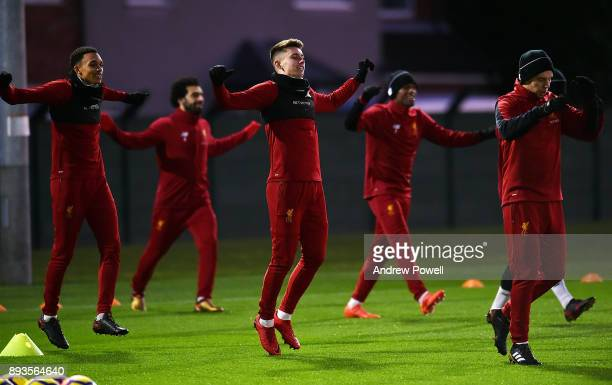 Ben Woodburn of Liverpool during a training session at Melwood Training Ground on December 15 2017 in Liverpool England
