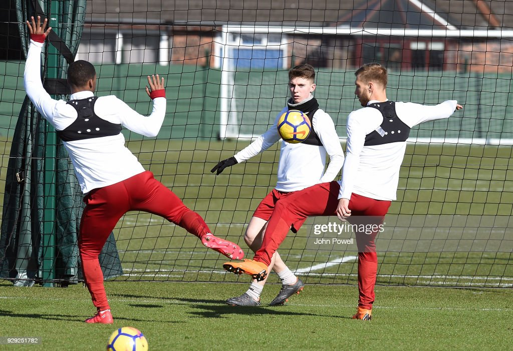 Ben Woodburn of Liverpool during a training session at Melwood Training Ground on March 8, 2018 in Liverpool, England.