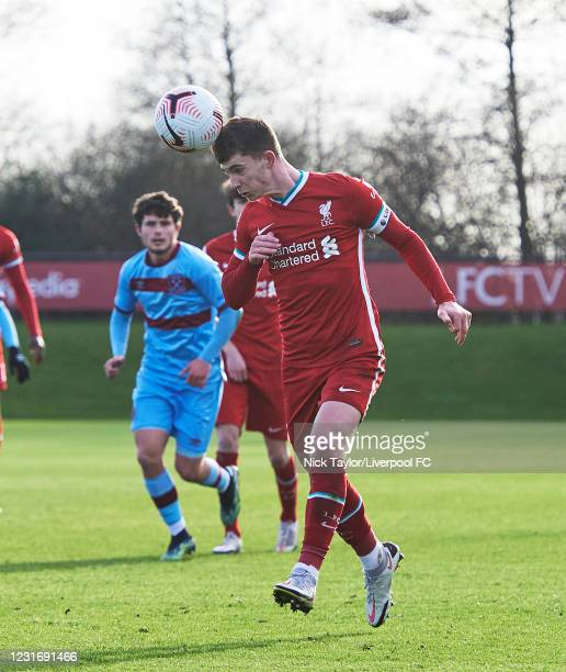 Ben Woodburn of Liverpool in action during the PL2 game at AXA Training Centre on March 13, 2021 in Kirkby, England.