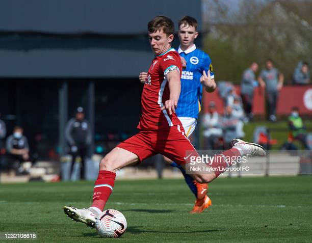 Ben Woodburn of Liverpool in action during the PL2 game at AXA Training Centre on April 4, 2021 in Kirkby, England.