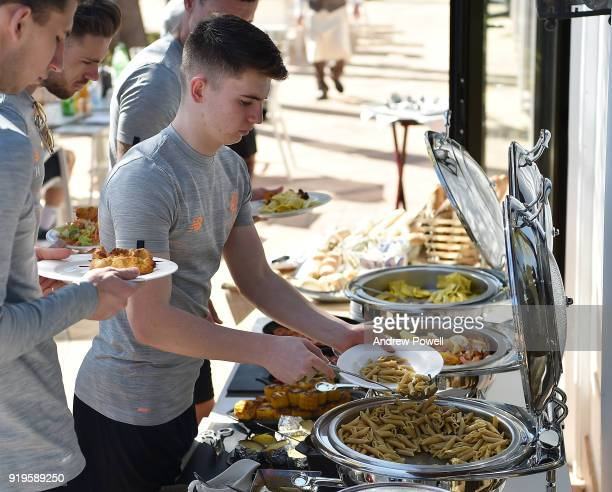 Ben Woodburn of Liverpool preparing lunch after a training session at Marbella Football Center on February 17 2018 in Marbella Spain