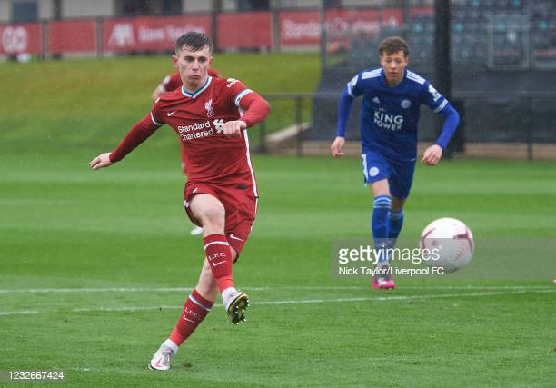 Ben Woodburn of Liverpool scores Liverpool's second goal against Leicester City from the penalty spot during the PL2 game at AXA Training Centre on...