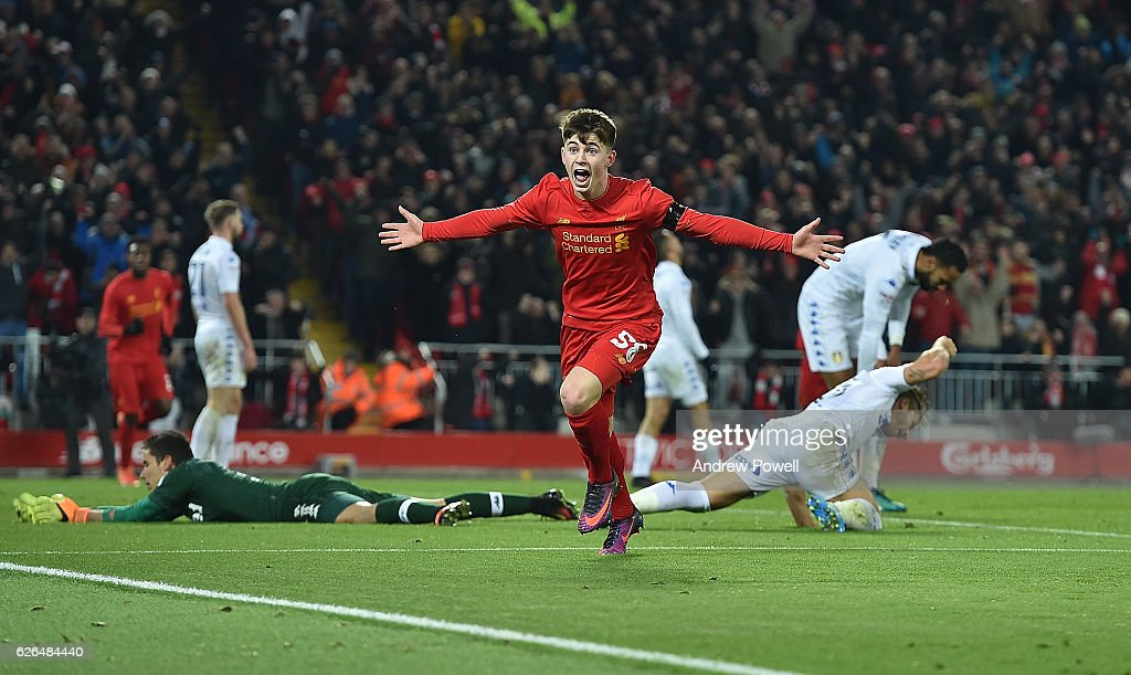 Ben Woodburn of Liverpool scores the second and celebrates . Makes him the youngest ever goalscorer for liverpool during the EFL Cup Quarter-Final match between Liverpool and Leeds United at Anfield on November 29, 2016 in Liverpool, England.