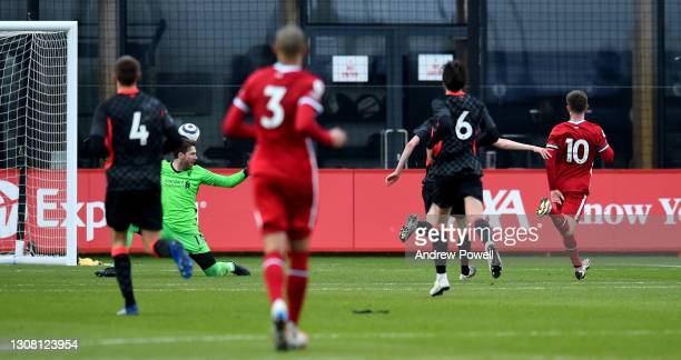 Ben Woodburn of Liverpool scoring a hat-trick during a training session at AXA Training Centre on March 20, 2021 in Kirkby, England.