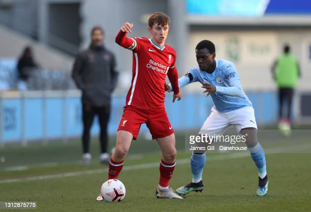 Ben Woodburn of Liverpool U23 during the Premier League 2 match between Manchester City U23 and Liverpool U23 at Manchester City Football Academy on...