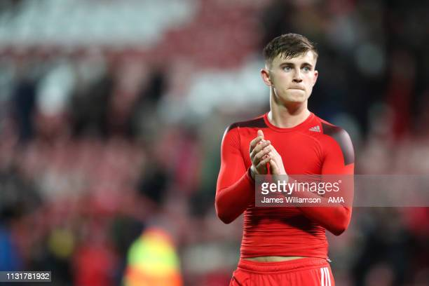Ben Woodburn of Wales during the International Friendly between Wales and Trinidad and Tobago at Racecourse Ground on March 20 2019 in Wrexham Wales