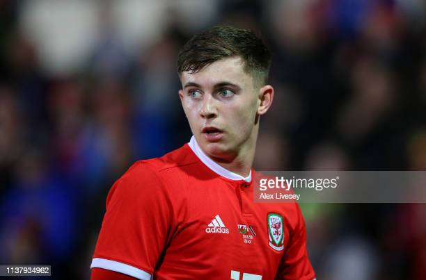 Ben Woodburn of Wales looks on during the International Friendly match between Wales and Trinidad and Tobago at Racecourse Ground on March 20 2019 in...