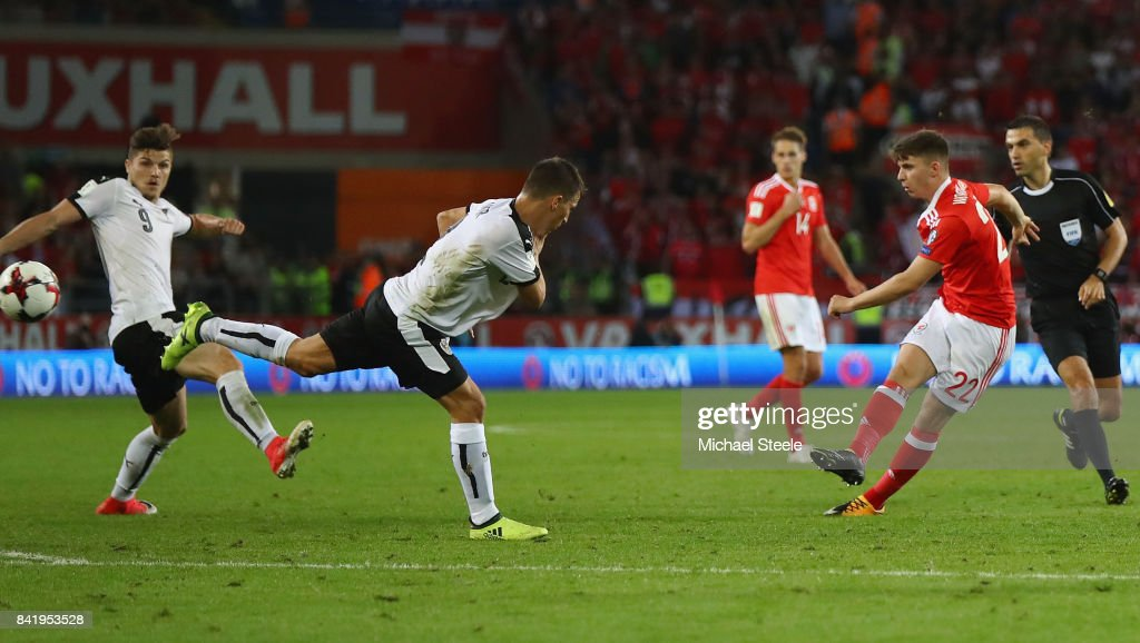 Ben Woodburn of Wales (22) scores their first goal during the FIFA 2018 World Cup Qualifier between Wales and Austria at Cardiff City Stadium on September 2, 2017 in Cardiff, Wales.