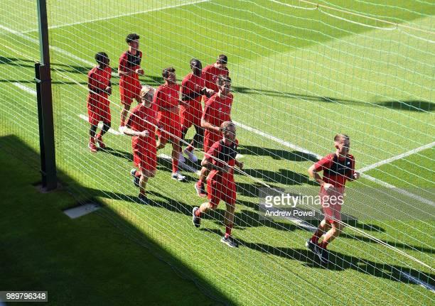 Ben Woodburn Ryan Kent Pedro Chirivella Kamil Grabara Sheyi Ojo Curtis Jones Rafael Camacho and Caoimhin Kelleher of Liverpool during their first day...