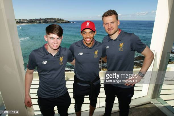 Ben Woodburn Trent AlexanderArnold and Simon Mignolet of Liverpool pose during a Liverpool FC Fan Day at Bondi Beach on May 25 2017 in Sydney...