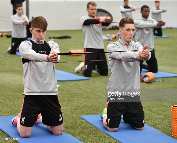 Ben Woodburn with Harry Wilson of Liverpool during a training session at Melwood Training Ground on April 19 2017 in Liverpool England