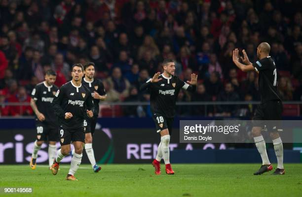 Ben Yedder of Sevilla reacts after his team scored their 2nd goal during the Copa del Rey Quarter Final First Leg match between Atletico de Madrid...