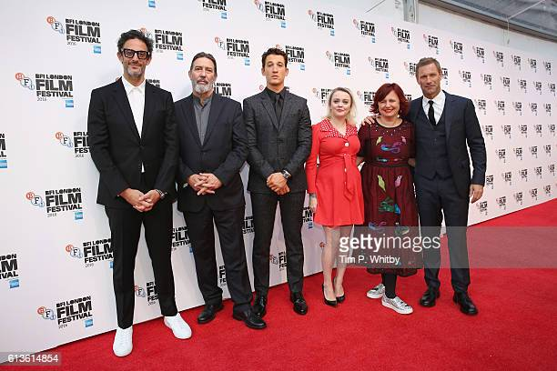 Ben Young Ciaran Hinds Miles Teller Clare Stewart Terri White and Aaron Eckhart attend the 'Bleed For This' Thrill Gala screening in association with...