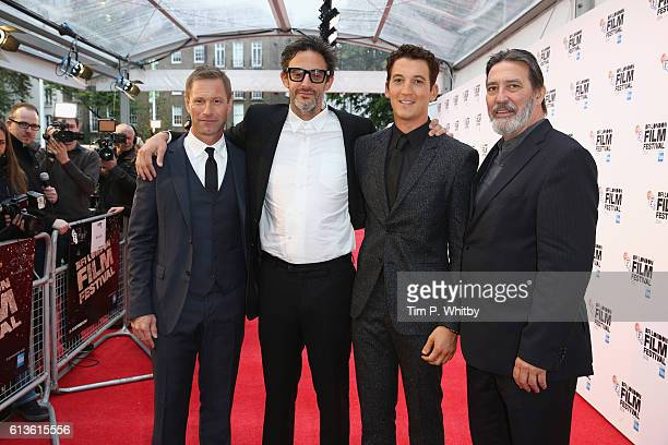 Ben Young Miles Teller Aaron Eckhart and Ciaran Hinds attend the 'Bleed For This' Thrill Gala screening in association with EMPIRE magazine during...