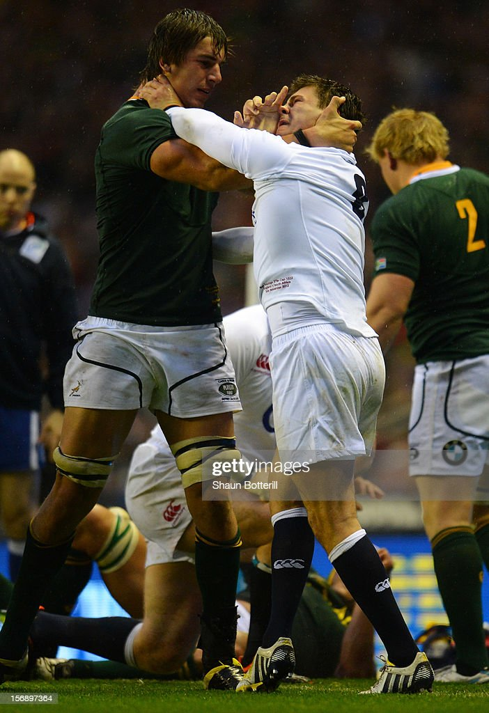Ben Youngs clashes with Eben Etzebeth of South Africa during the QBE International match between England and South Africa at Twickenham Stadium on November 24, 2012 in London, England.