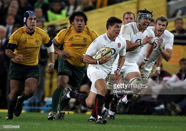 Ben Youngs, of England breaks away to score the first try during the Cook Cup Test Match between the Australian Wallabies and England at ANZ Stadium...