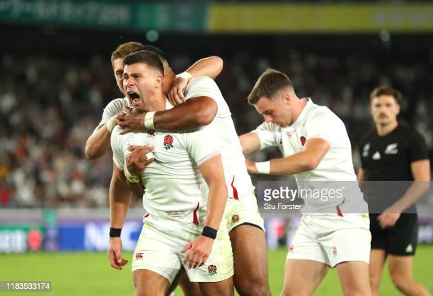 Ben Youngs of England celebrates after scoring, but the try is later disallowed during the Rugby World Cup 2019 Semi-Final match between England and...