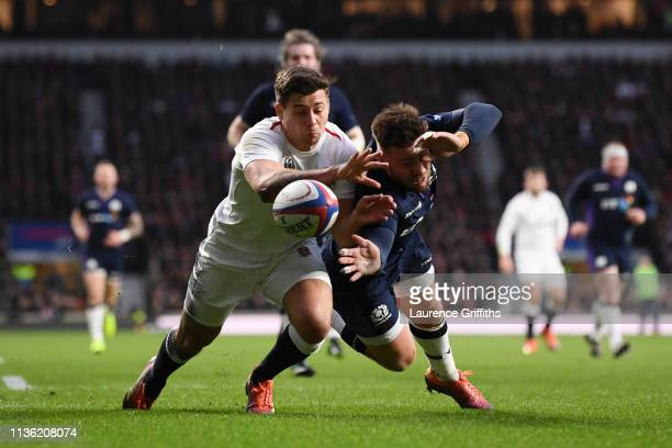 Ben Youngs of England challenges for the ball with Ali Price of Scotland during the Guinness Six Nations match between England and Scotland at...